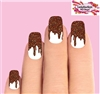 Chocolate Dripping Icing with Sprinkles Set of 10 Full Waterslide Nail Decals