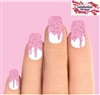 Pink Dripping Icing with Sprinkles Set of 10 Full Waterslide Nail Decals
