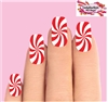 Christmas Holiday Candy Cane Peppermint Swirl Set of 10 Waterslide Full Nail Decals