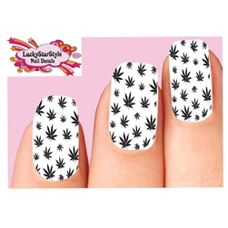 Black Cannabis Pot Marijuana Leaf Waterslide Full Nail Decals