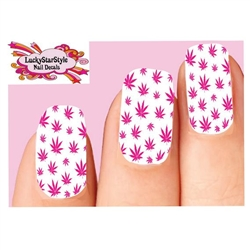 Pink Cannabis Pot Marijuana Leaf Waterslide Full Nail Decals