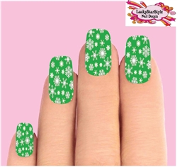 Holiday Christmas Green & Clear Snowflakes Full Waterslide Nail Decals