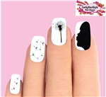 Girl Wishing Blowing Dandelion Silhouette Waterslide Nail Decals