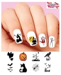 Halloween Witch Ghosts Black Cat Bloody Hand Skeleton Assorted Set of 48 Waterslide Nail Decals