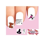 Halloween Pink Witch, Trick or Treat, Spider Web & Skeleton Assorted #2 Waterslide Nail Decals
