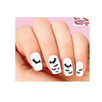 Halloween Black Bats Flying Waterslide Nail Decals Assorted