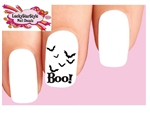 Boo with Black Bats Set of 20 Waterslide Nail Decals