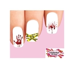 Halloween Crime Scene Tape Bloody Hand Print  Assorted Waterslide Nail Decals