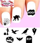 Halloween Silhouettes Assorted Waterslide Nail Decals