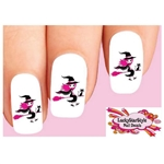 Halloween Pink Witch with Black Cat Waterslide Nail Decals