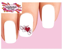 Red Hearts with Swirls and Scrolls Waterslide Nail Decals