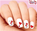 Hearts Red with Swirls Scrolls Assorted Waterslide Nail Decals