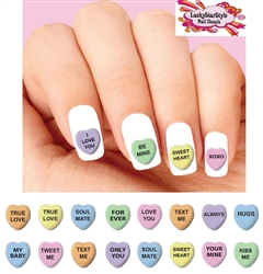 Conversation Candy Hearts Assorted Waterslide Nail Decals