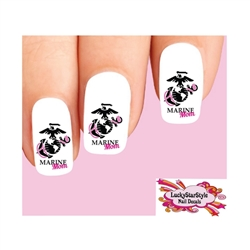 USMC United States US Marine Corps Mom Pink Waterslide Nail Decals