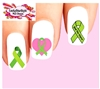 Green Mental Health Awareness Ribbon Assorted Waterslide Nail Decals