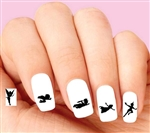 Peter Pan & Tinkerbell Flying Shadows Silhouette Assorted Waterslide Nail Decals