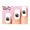 Cannabis Pot Marijuana Leaf Black Waterslide Nail Decals