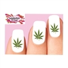 Cannabis Pot Marijuana Leaf Green Waterslide Nail Decals
