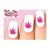 Cannabis Pot Marijuana Leaf Pink Waterslide Nail Decals