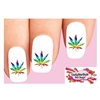 Rainbow Pot Marijuana Cannabis Leaf Waterslide Nail Decals