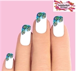 Peacock Feathers Tips Waterslide Nail Decals