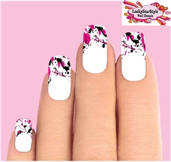 Tips Black & Pink Paint Splatter Drip Tips Waterslide Nail Decals