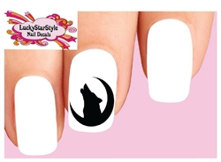 Wolf Howling Moon Silhouette Waterslide Nail Decals