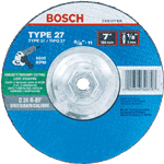 Bosch CG27LM450 4-1/2 In. 1/8 In. 7/8 In. Arbor Type 27 30 Grit Long-Life Grinding/Metal Cutting Abrasive Wheel