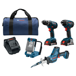 Bosch CLPK496A-181 18V 4-Tool Combo Kit with Compact Tough Drill Driver, Impact Driver, Compact Reciprocating Saw, LED Work Light & (2) SlimPack Batteries (2.0Ah)