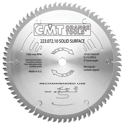 CMT 223.072.10 Industrial Solid Surface Saw Blade, 10-Inch x 72 Teeth MTCG Grind with 5/8-Inch Bore