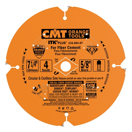 CMT 236.004.07 ITK PLUS Diamond Saw Blade for Fiber Cement Products, 7-1/4-Inch x 4 Conical Teeth with 5/8-Inch<>Bore, PTFE Coating