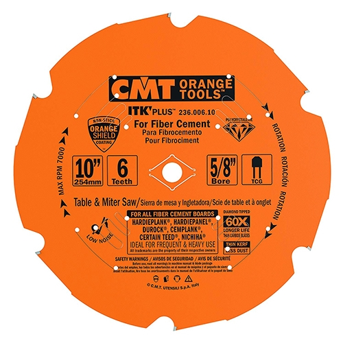 CMT 236.006.10 ITK PLUS Diamond Saw Blade for Fiber Cement Products, 10-Inch x 6 Teeth Conical Grind with 5/8-Inch Bore, PTFE Coating