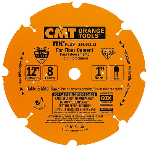 CMT 236.008.12 ITK PLUS Diamond Saw Blade for Fiber Cement Products, 12-Inch x 8 Teeth Conical Grind with 1-Inch Bore, PTFE Coating