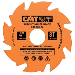 CMT 241.008.04 Biscuit Joiner Blade, 4-Inch Diameter x 8 Teeth, PTFE-Coated.