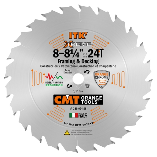 CMT 250.024.08 ITK Industrial Framing/Decking Saw Blade, 8-8-1/4-Inch x 24 Teeth 1FTG+2ATB Grind with 5/8-Inch<> Bore