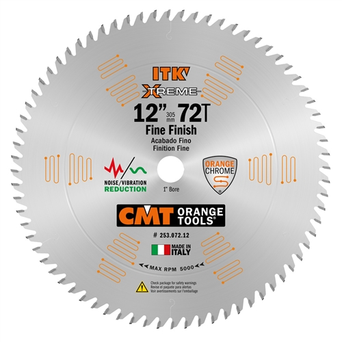 CMT 253.072.12 ITK Industrial Finish Sliding Compound Miter Saw Blade, 12-Inch x 72 Teeth 1FTG+2ATB Grind with 1-Inch Bore