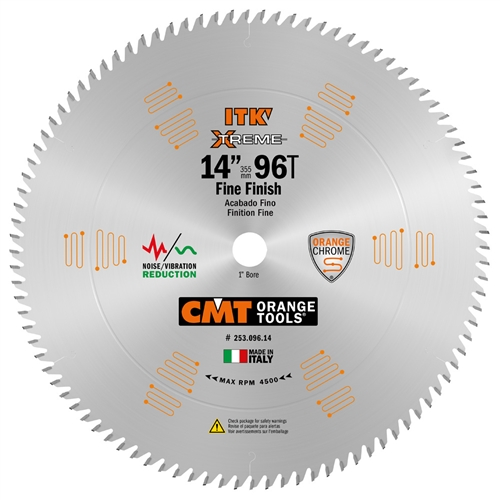 CMT 253.096.14 ITK Industrial Finish Sliding Compound Miter Saw Blade, 14-Inch x 96 Teeth 1FTG+2ATB Grind with 1-Inch Bore