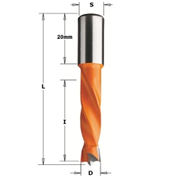 CMT 308.050.11 Dowel Drill, 5mm (13/64-Inch) Diameter, 10x20mm Shank, Right-Hand Rotation