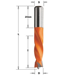 CMT 308.095.12 Dowel Drill, 3/8-Inch Diameter, 10x20mm Shank, Left-Hand Rotation