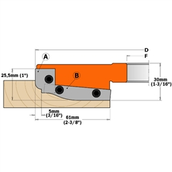 CMT 695.013.A2 Pair of Profiled Knives for Professional Raised Panel Cutter Head