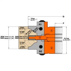 CMT 695.015.E1 Pair of Knives for Profile and Counterprofile Cutter Head Set