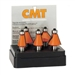 CMT 836.501.11 5-Piece Chamfer Bit Set in Carrying Case, 1/2-Inch Shank, Carbide-Tipped