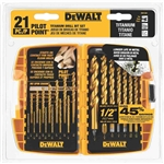 DW1361 21pc Titanium Pilot Point Drill Bit Set by Dewalt