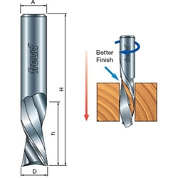 Freud Router Bits: 76-105 Down Spiral Bit - Straight, Spiral & Trim Bits