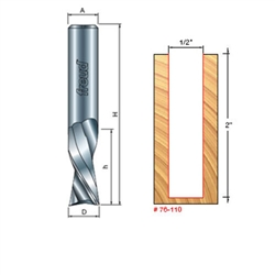 Freud Router Bits: 76-110 Down Spiral Bit - Straight, Spiral & Trim Bits