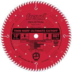 Freud LU74R010 10 Inch X 80 Tooth X 5/8 Arbor Alternate Top Bevel Industrial Thin Kerf Red Perma Shield Saw Blade