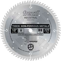 "Freud LU89M010 10 X 72 X 5/8  TCG 10"" Diameter x 72T TCG Industrial Thick Non-Ferrous Metal Carbide-Tipped Saw Blade"