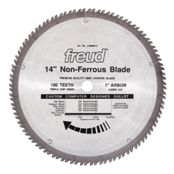 "Freud LU89M014 14 X 100 X 1  TCG 14"" Diameter x 100T TCG Industrial Thick Non-Ferrous Metal Carbide-Tipped Saw Blade with 1"" Arbor (.142 Kerf)"