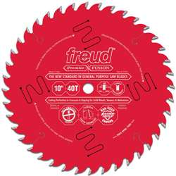 "Freud P410 10"" 40 Tooth Hi-ATB 5/8"" Arbor Premier Fusion Perma-shield Coated Circular Saw Blade"