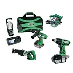 Hitachi KC18DBLWH18P4 18V Li-Ion Combo Kit, WH18DL + DV18DL + CR18DL + C18DL + Lantern + (2) Li-Ion Batteries 3.0Ah + Charger + Bag
